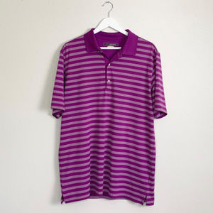 Mens Greg Norman Striped Play Dry  Polo Size Large